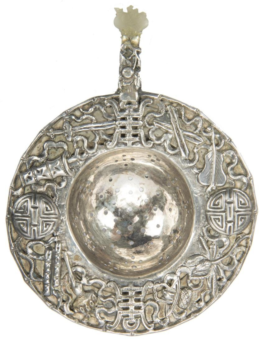 CHINESE STERLING SILVER ORNATE TEA STRAINER
