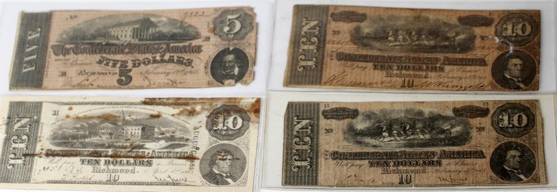 CONFEDERATE STATES OF AMERICA CURRENCY- LOT OF 4