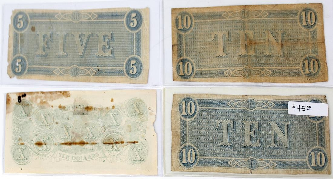 CONFEDERATE STATES OF AMERICA CURRENCY- LOT OF 4 - 2