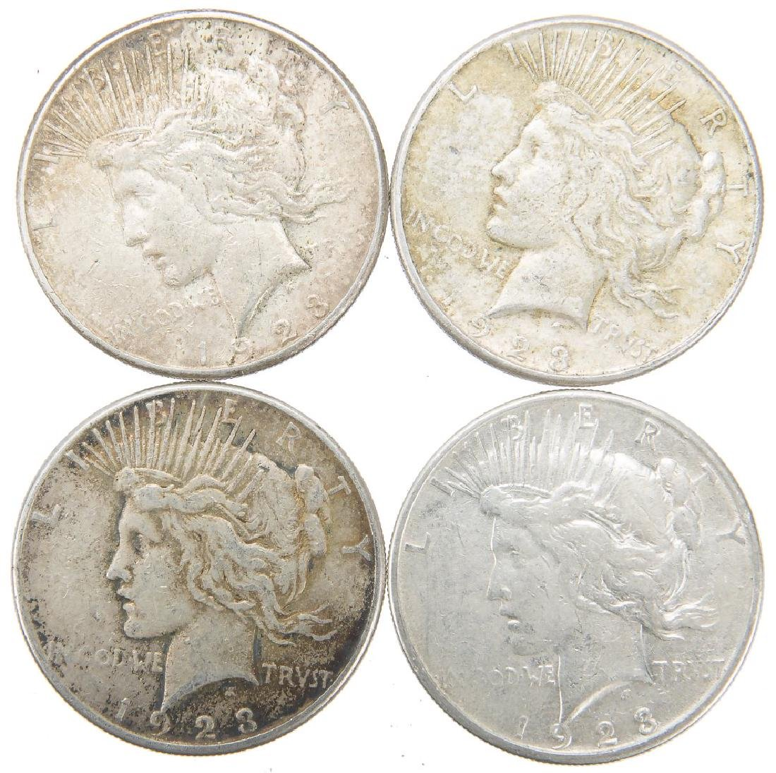 UNITED STATES SILVER PEACE DOLLARS LOT OF 4