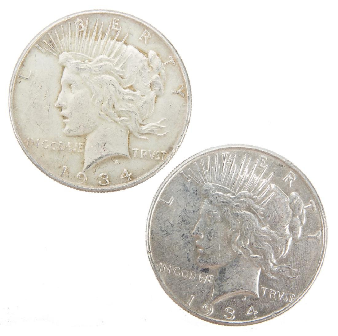 UNITED STATES SILVER PEACE DOLLARS 1934P LOT OF 2
