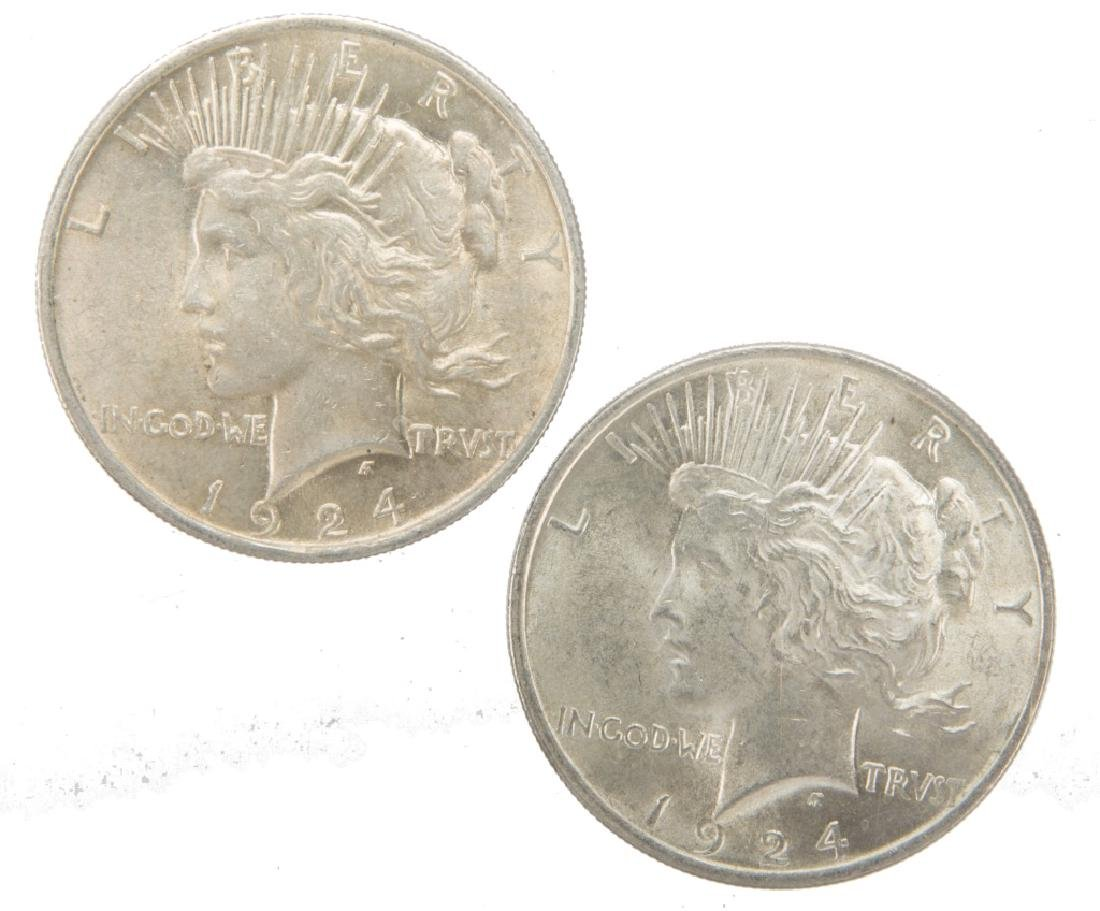 1924 P UNITED STATES SILVER PEACE DOLLARS LOT OF 2