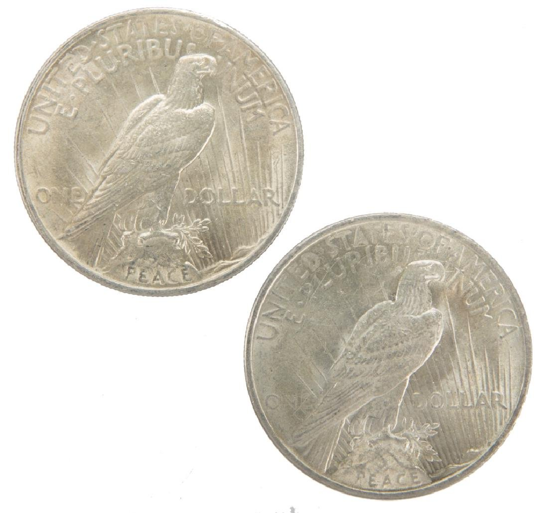 1924 P UNITED STATES SILVER PEACE DOLLARS LOT OF 2 - 2