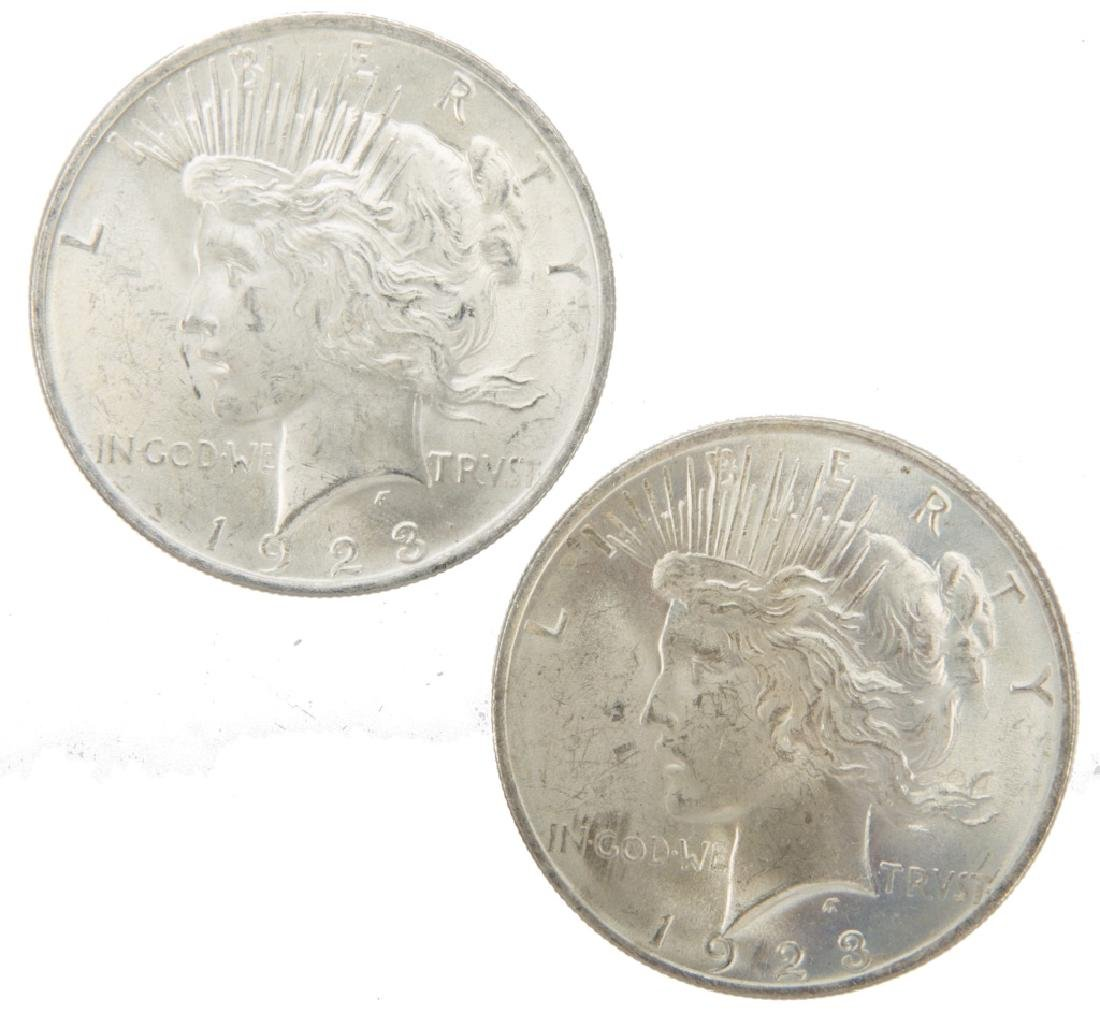 1923 P UNITED STATES SILVER PEACE DOLLARS LOT OF 2