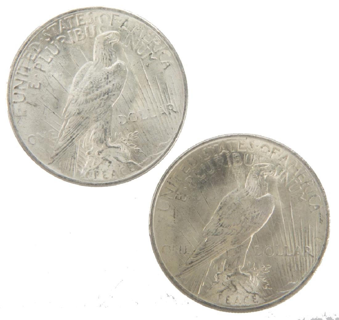 1923 P UNITED STATES SILVER PEACE DOLLARS LOT OF 2 - 2