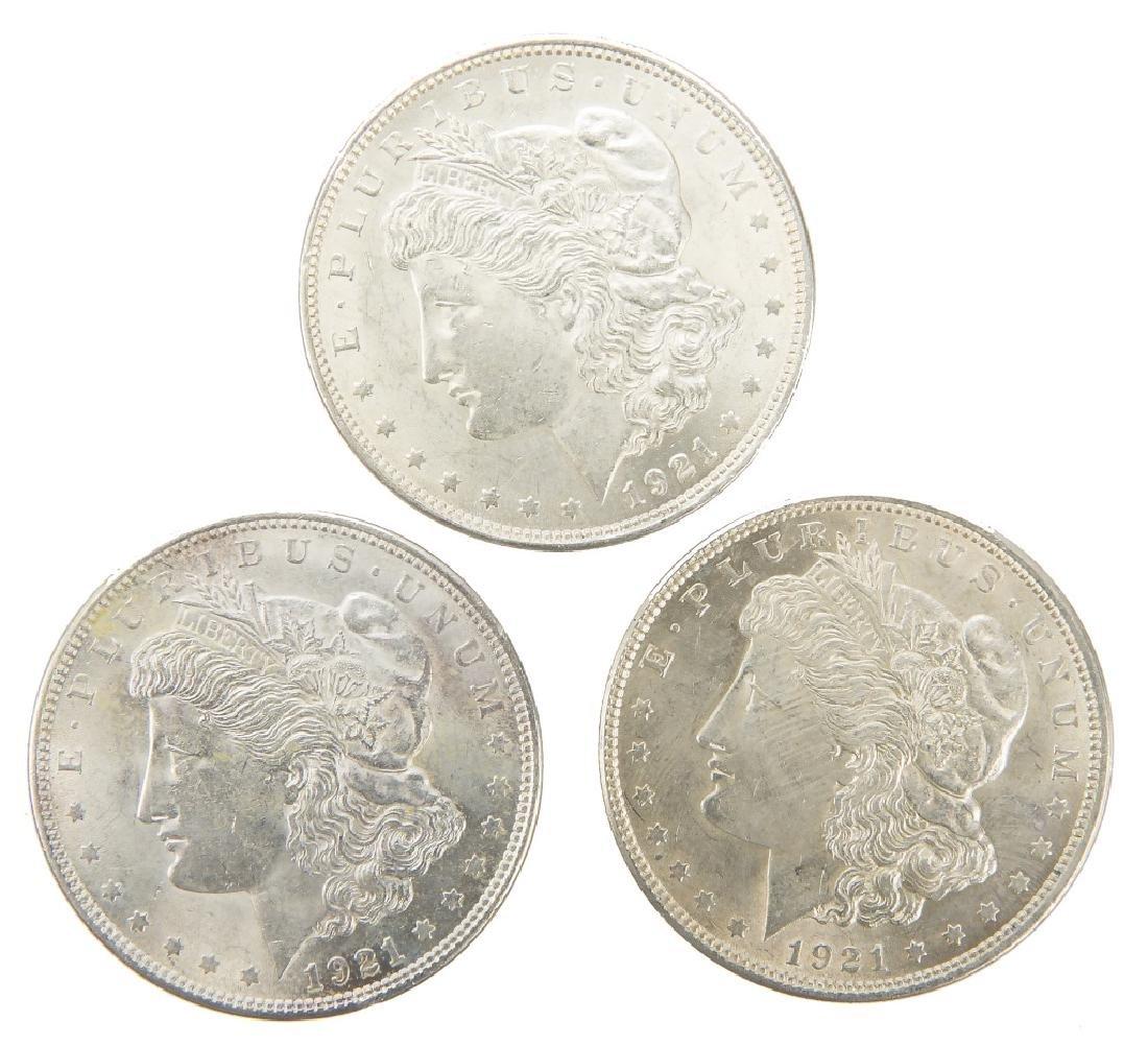UNITED STATES SILVER MORGAN DOLLARS 1921 LOT OF 3