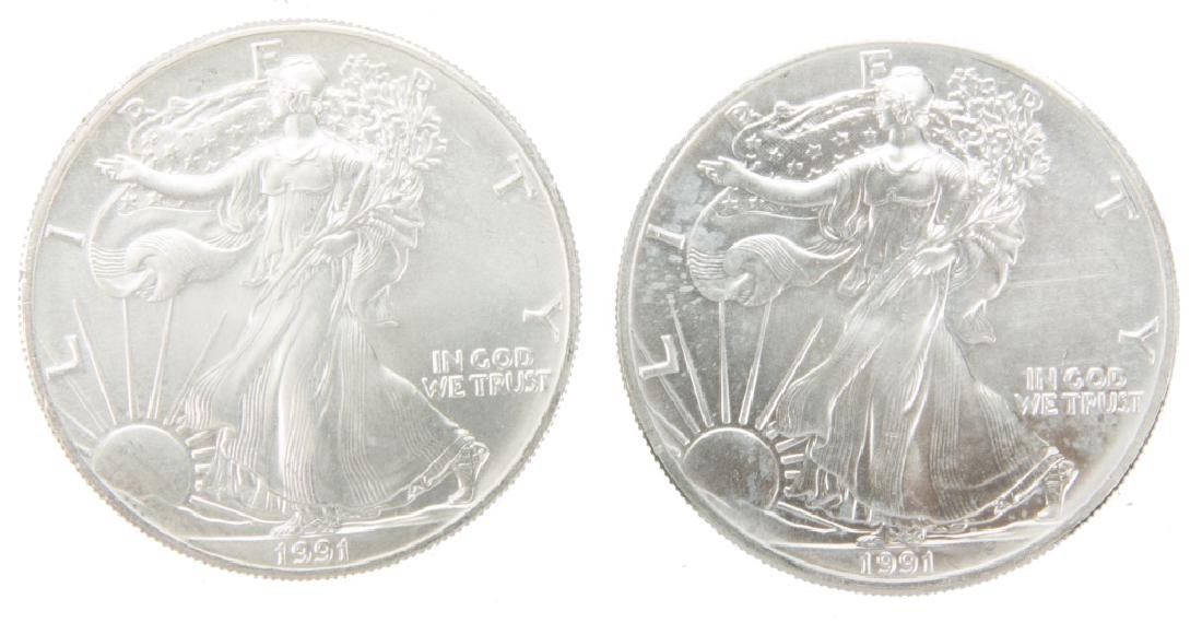 1991 US SILVER EAGLES ONE OZ SILVER COINS LOT OF 2