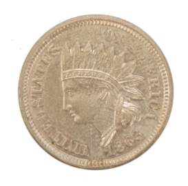1863 1C UNITED STATES INDIAN HEAD CENT MS++