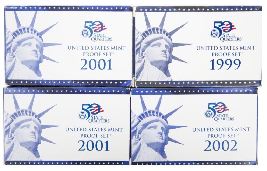 UNITED STATES MINT PROOF SETS 1999 - 2002 LOT OF 4