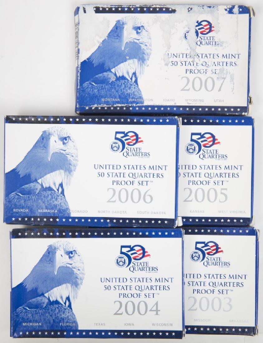 UNITED STATES QUARTER PROOF SETS 2003 - 2007 (5)