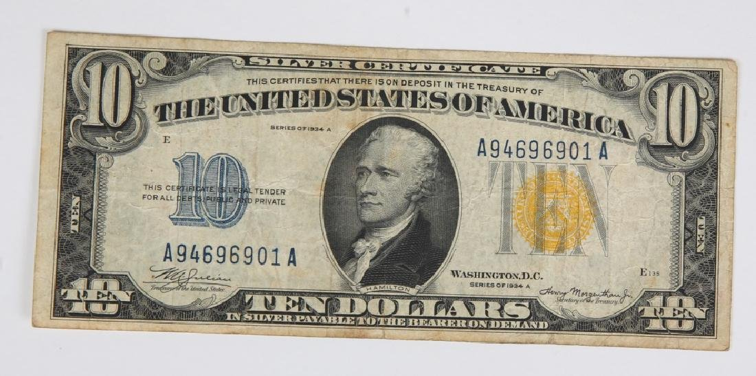 $10.00 SERIES 1934 NORTH AFRICA SILVER CERTIFICATE