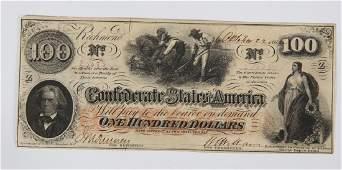 100.00 CONFEDERATE STATES AMERICA RICHMOND NOTE
