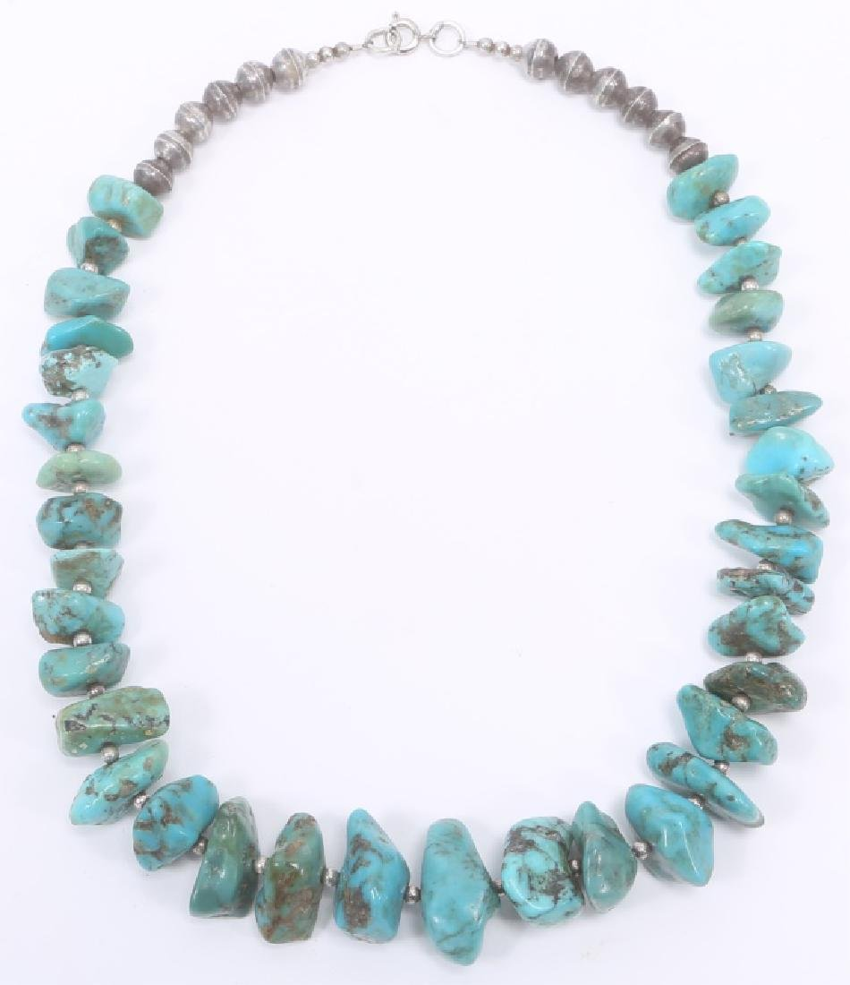 TURQUOISE STERLING SILVER BEADED NECKLACE