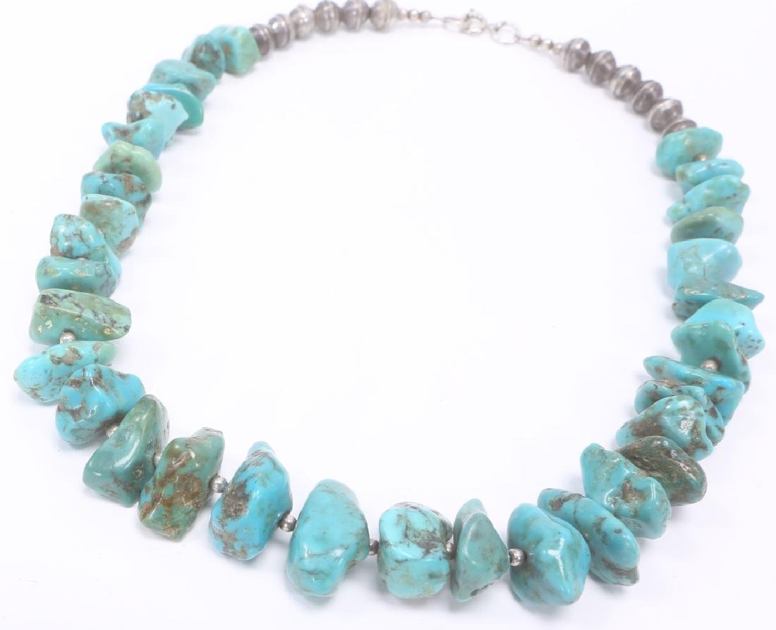 TURQUOISE STERLING SILVER BEADED NECKLACE - 2