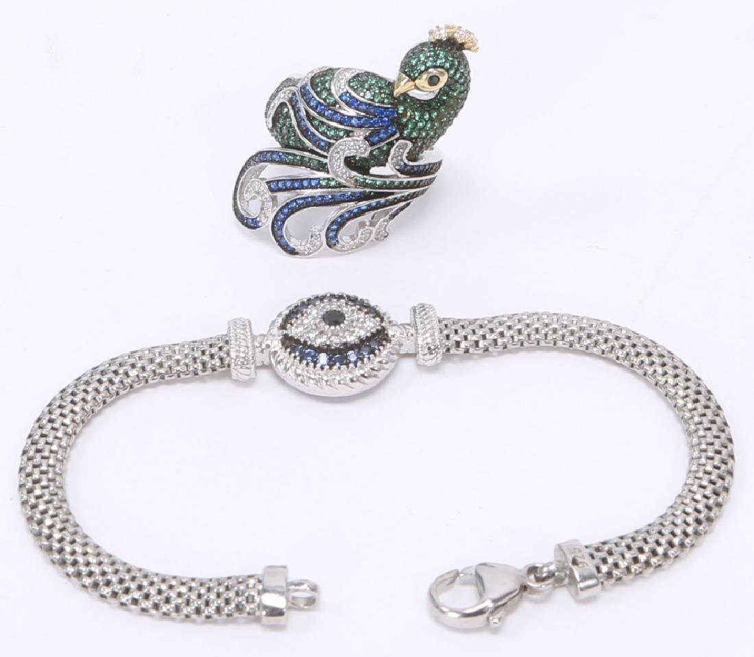 STERLING SILVER DIAMOND BRACELET & RING