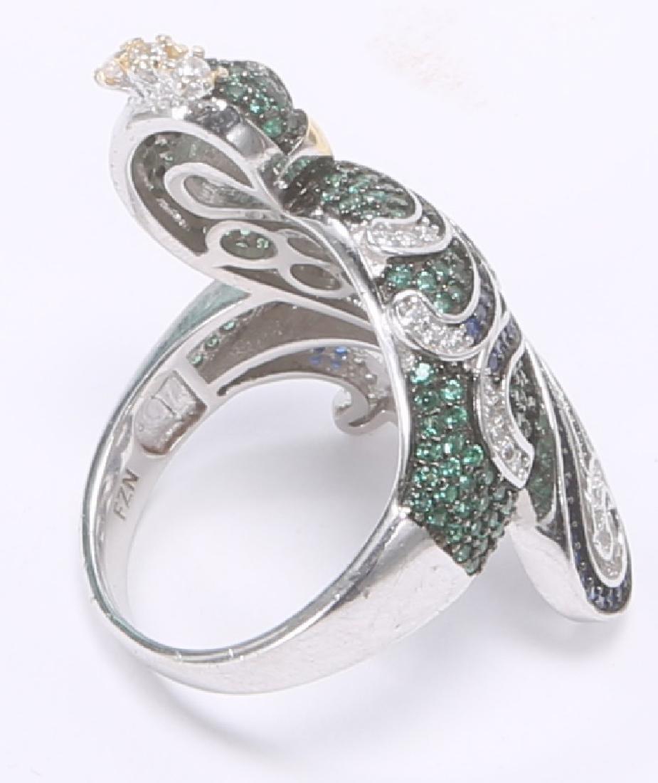 STERLING SILVER DIAMOND BRACELET & RING - 5