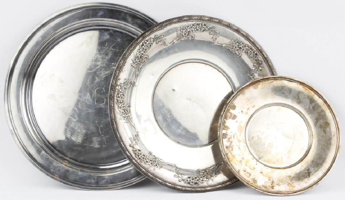 STERLING SILVER SERVING TRAYS LOT OF THREE