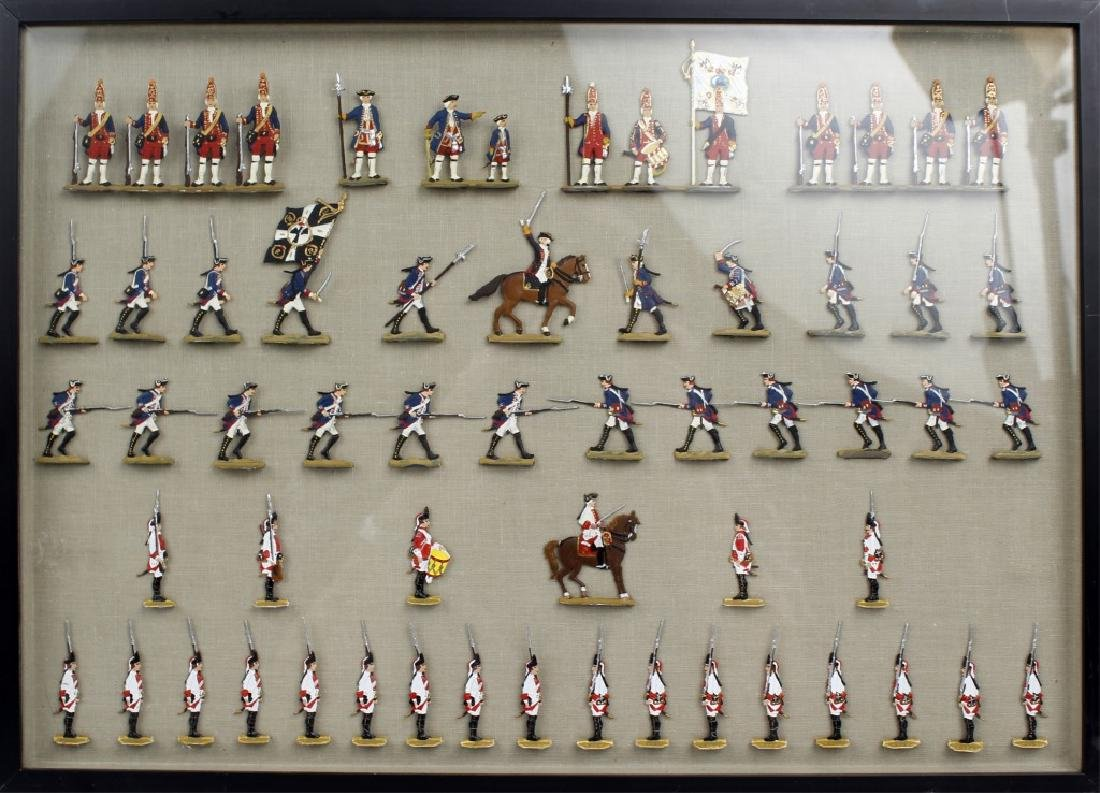 FRAMED GERMAN SCHWEIZER TIN FLAT TOY SOLDIERS