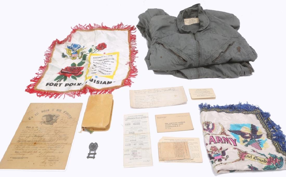 MILITARY GROUPING - COVERALL, PAPERS, PIN, ETC.