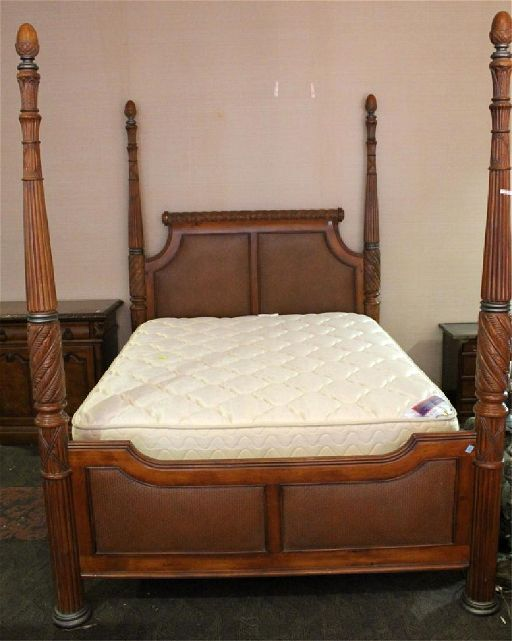 Tommy Bahama Style Solid Wood 4 Post, Solid Wood Queen Bed