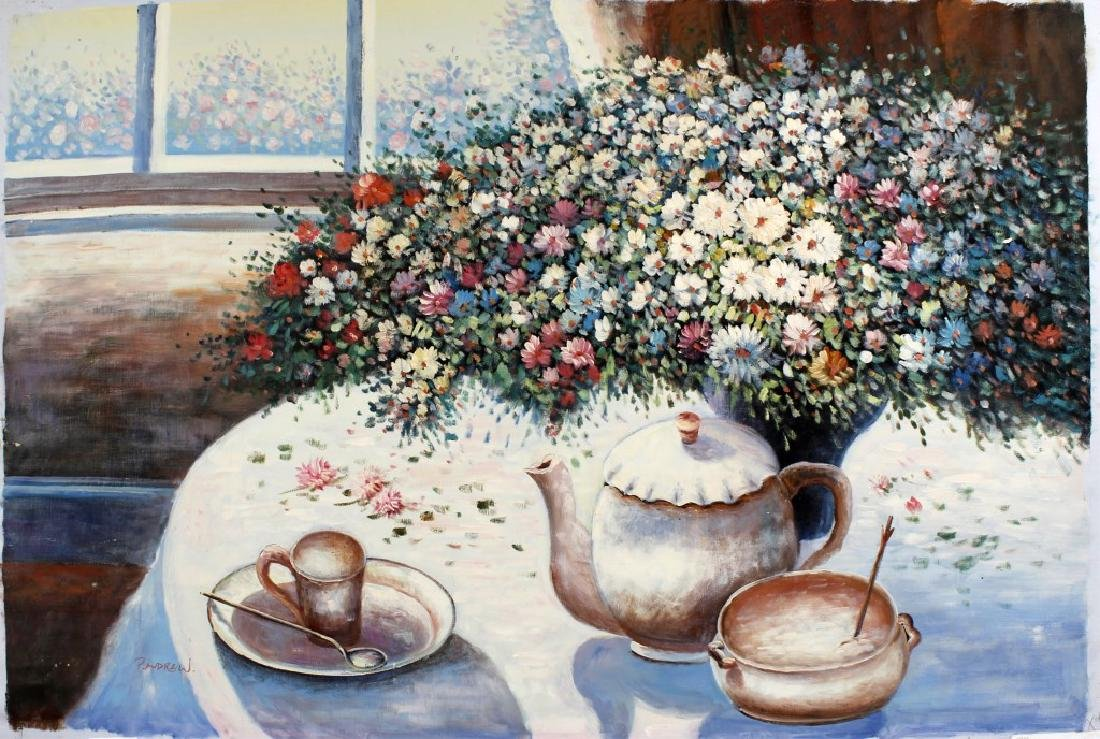 P. ANDREW STILL LIFE OIL PAINTING ON CANVAS