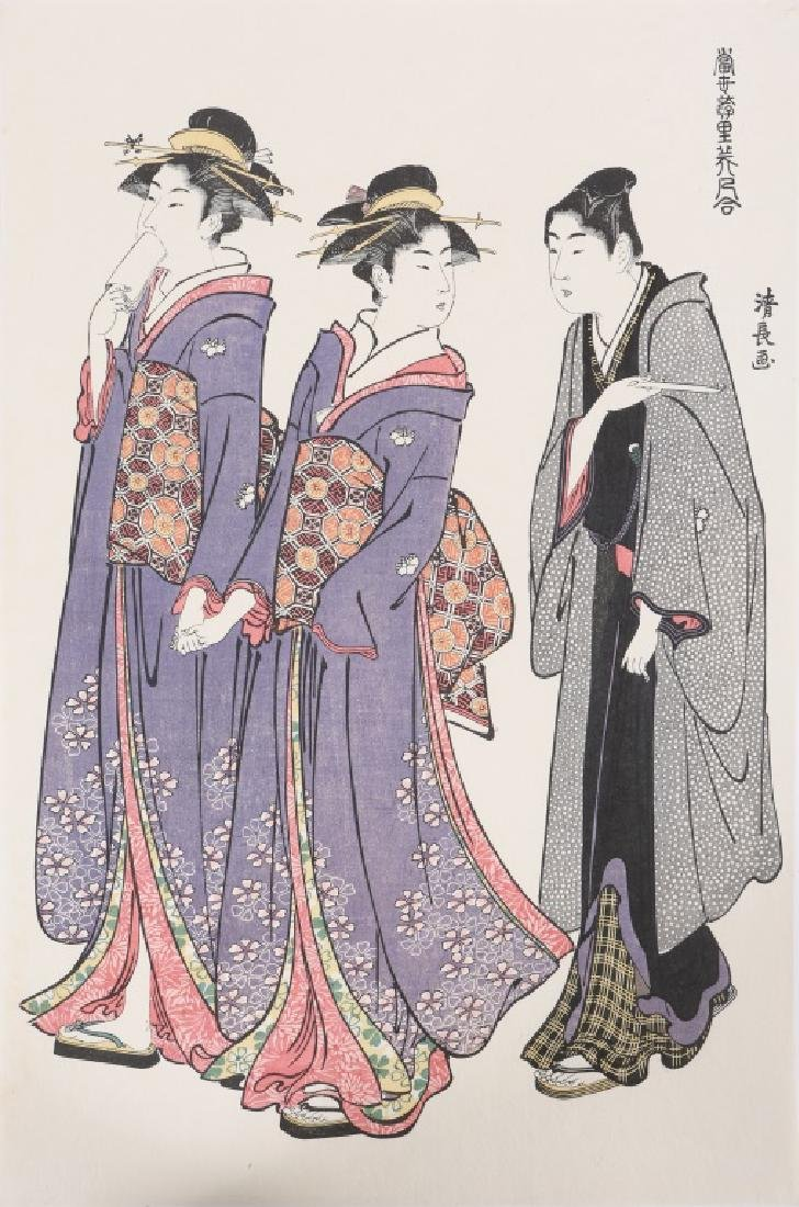 TORI KIYONAGA JAPANESE WOODBLOCK TWO GEISHAS 1783