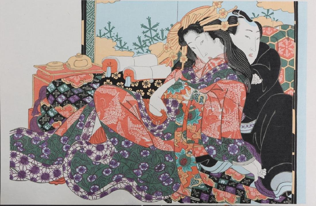 UNSIGNED JAPANESE WOODBLOCK PRINT OF COUPLE
