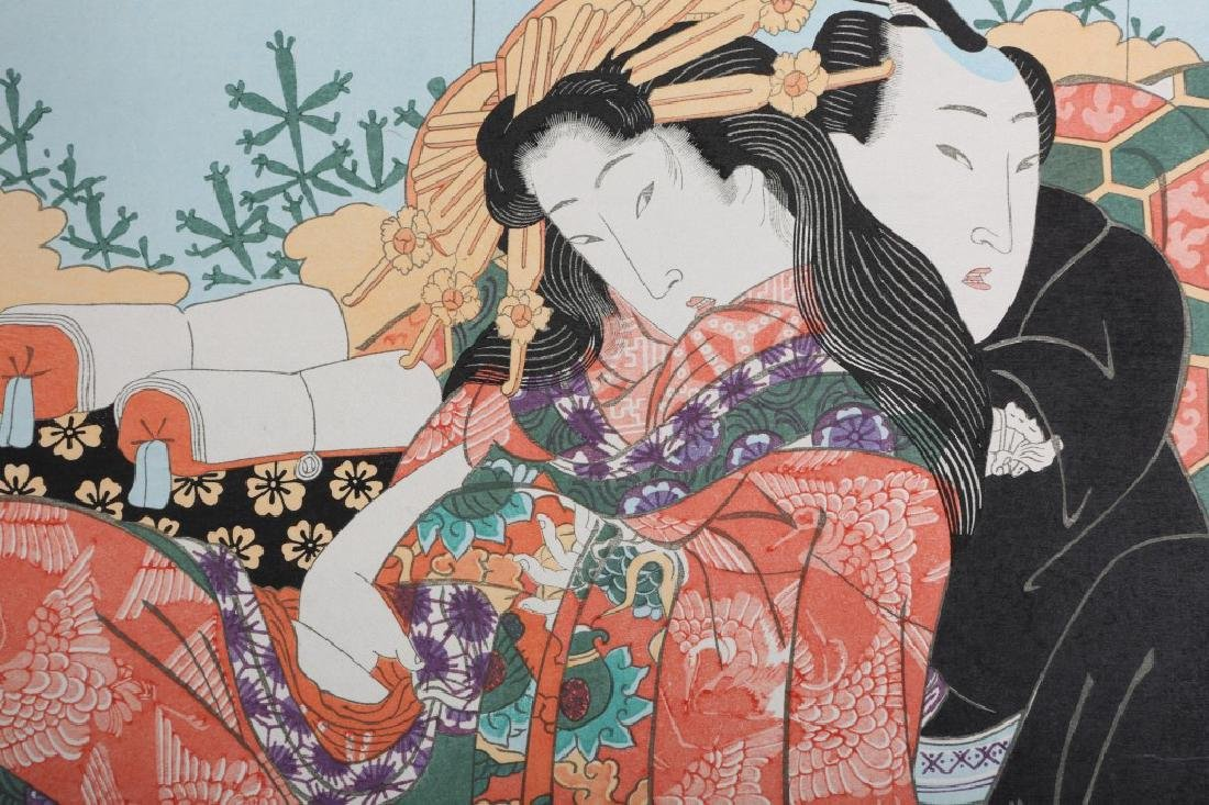UNSIGNED JAPANESE WOODBLOCK PRINT OF COUPLE - 2