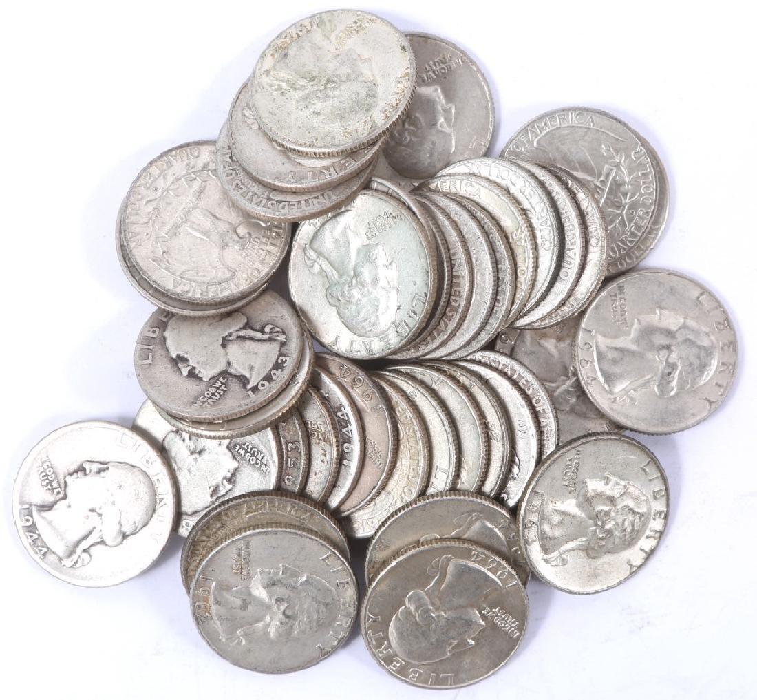 $10.00 WASHINGTON 90% SILVER QUARTERS