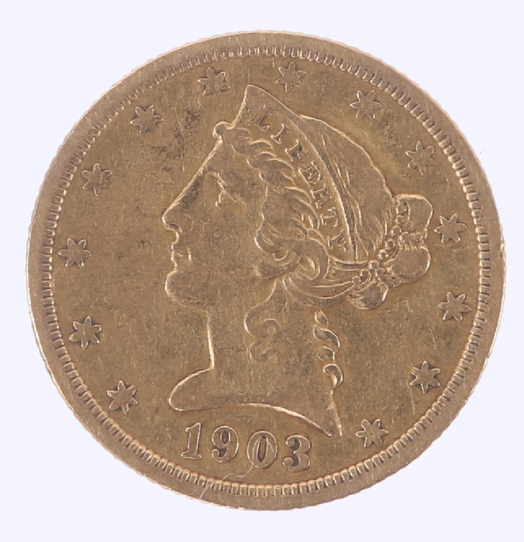 1903 S UNITED STATES FIVE DOLLAR GOLD HALF EAGLE
