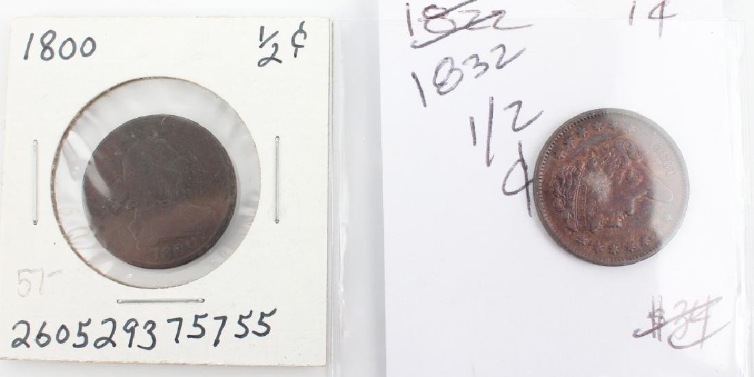 UNITED STATES COPPER HALF CENTS -- LOT OF 2