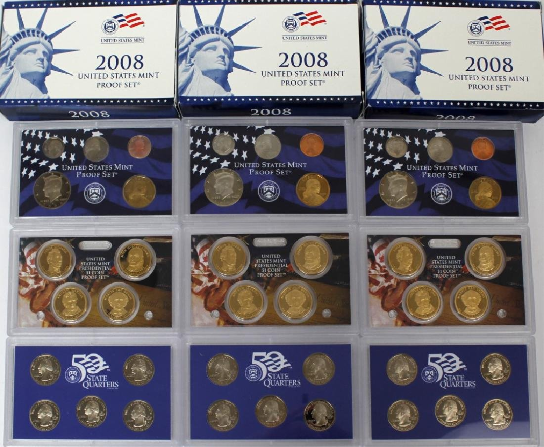 US MINT PROOF SETS 2008 - LOT OF 3