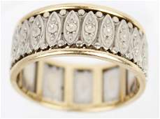 MEN'S 14K TWO TONED CARVED WEDDING BAND RING