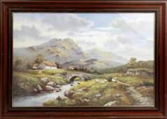 W. R. FRAMED PRINT MOUNTAIN LANDSCAPE SCENE