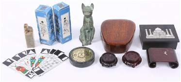 COLLECTIBLES LOT  STANDS CARDS TRINKET BOXES