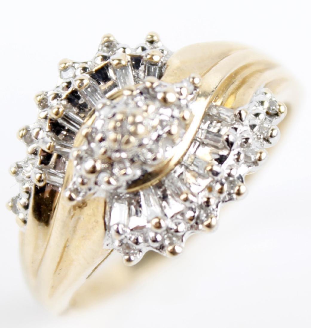 10K YELLOW GOLD DIAMOND LADIES FASHION RING