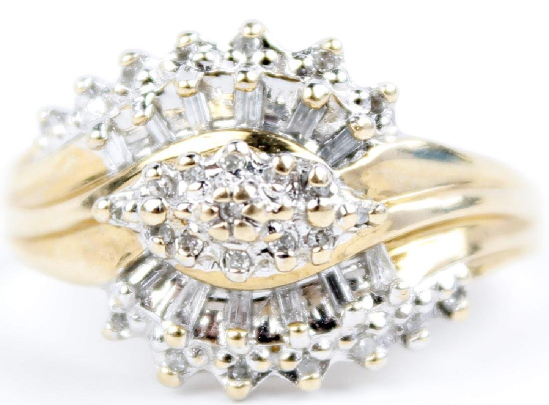 10K YELLOW GOLD DIAMOND LADIES FASHION RING - 2