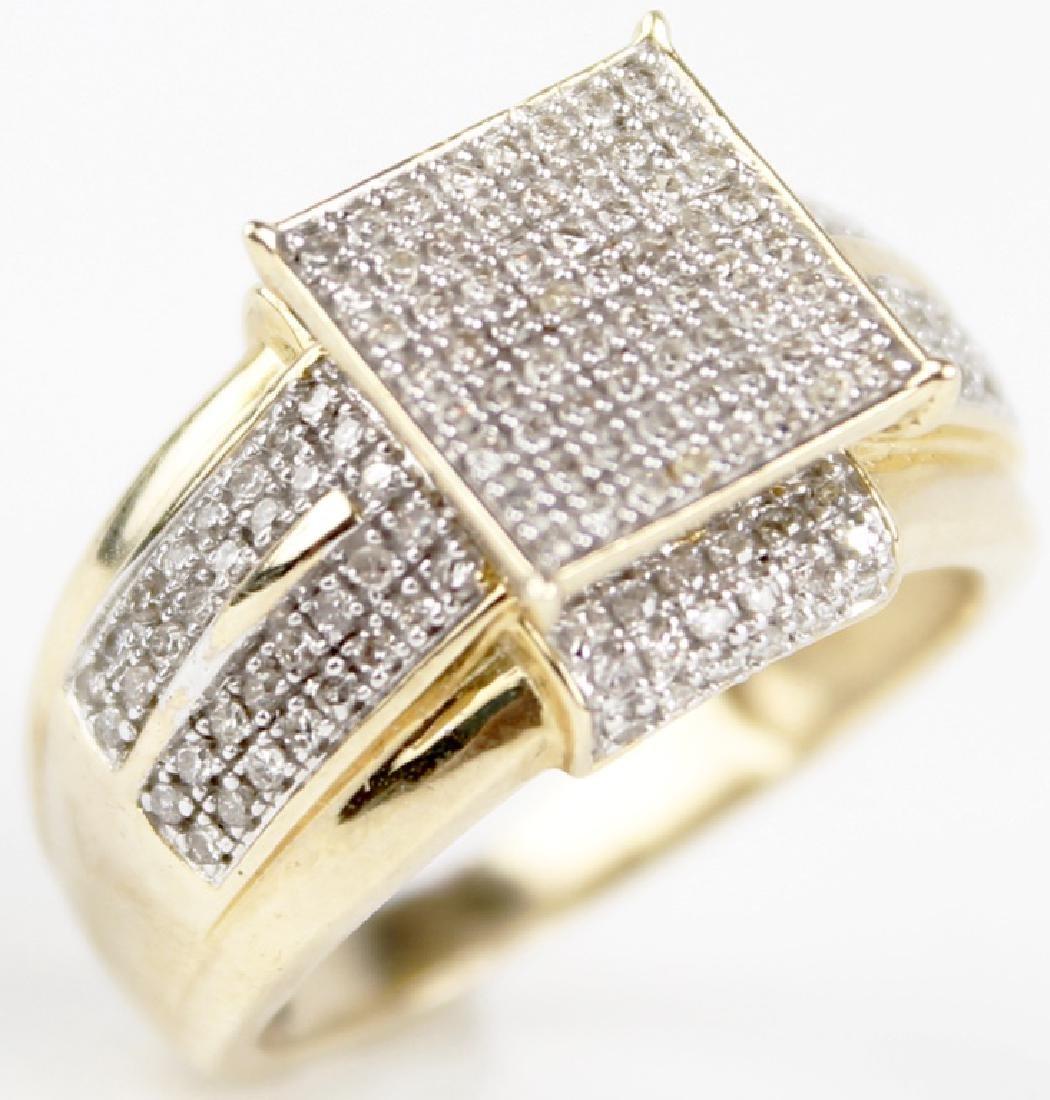 10K YELLOW GOLD MICRO PAVE DIAMOND RING