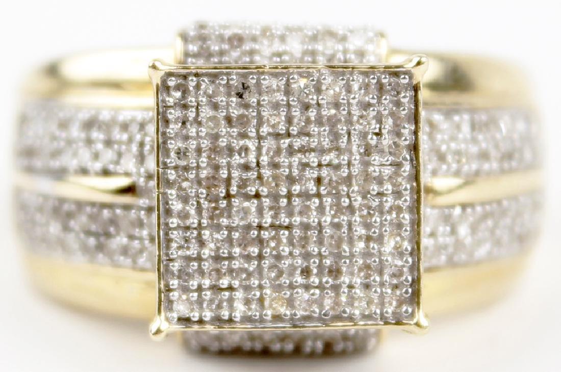 10K YELLOW GOLD MICRO PAVE DIAMOND RING - 2