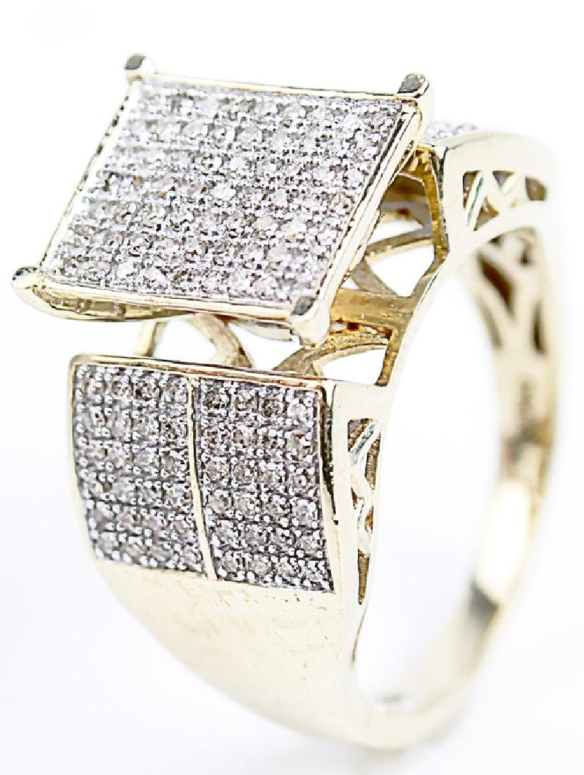 10K YELLOW GOLD RING WITH MICRO PAVE DIAMONDS
