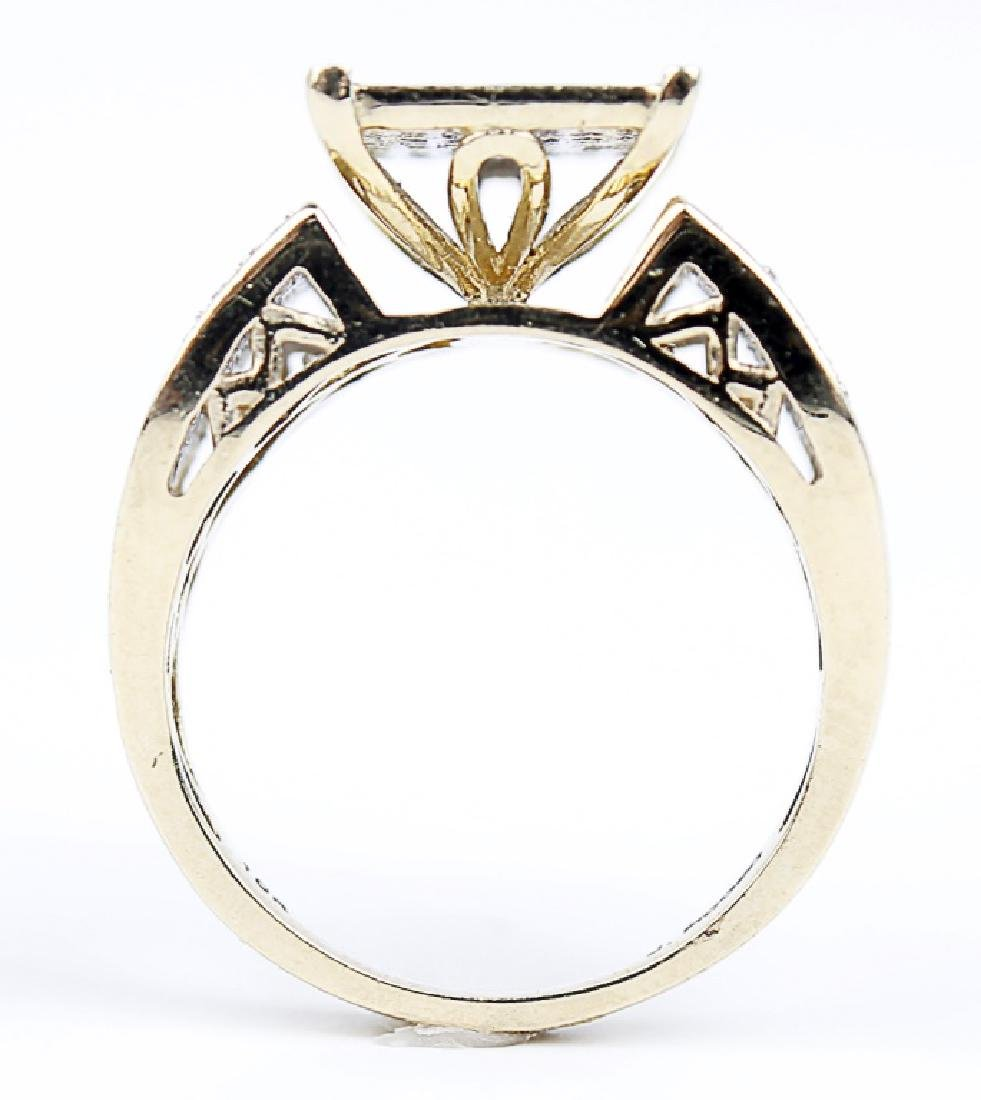 10K YELLOW GOLD RING WITH MICRO PAVE DIAMONDS - 2