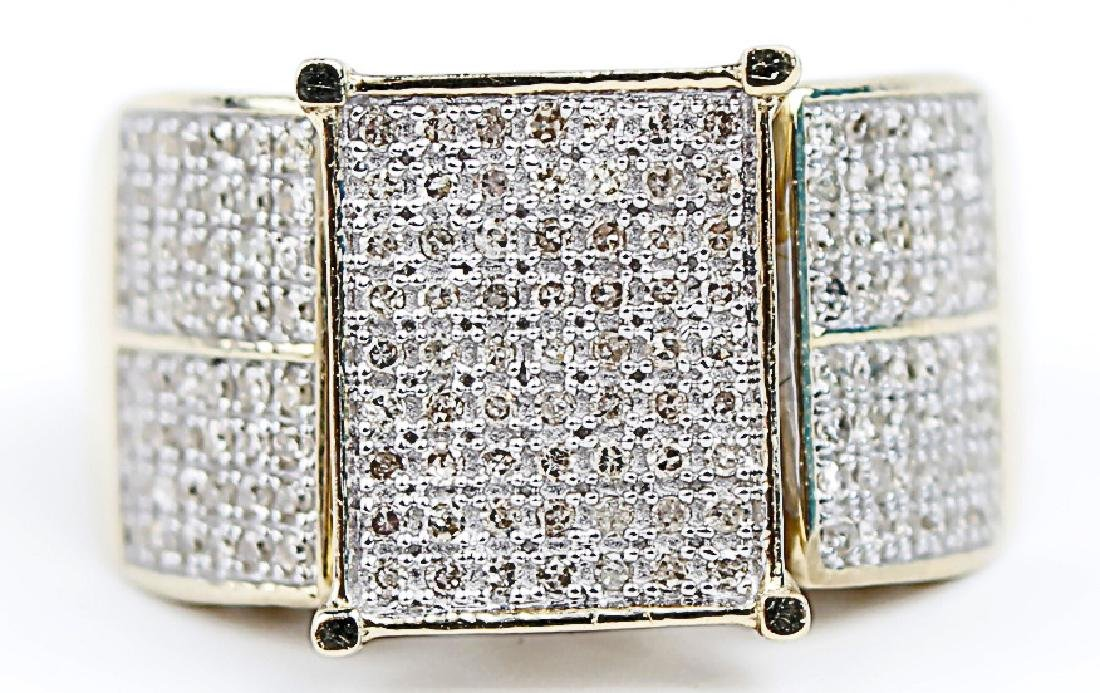 10K YELLOW GOLD RING WITH MICRO PAVE DIAMONDS - 3