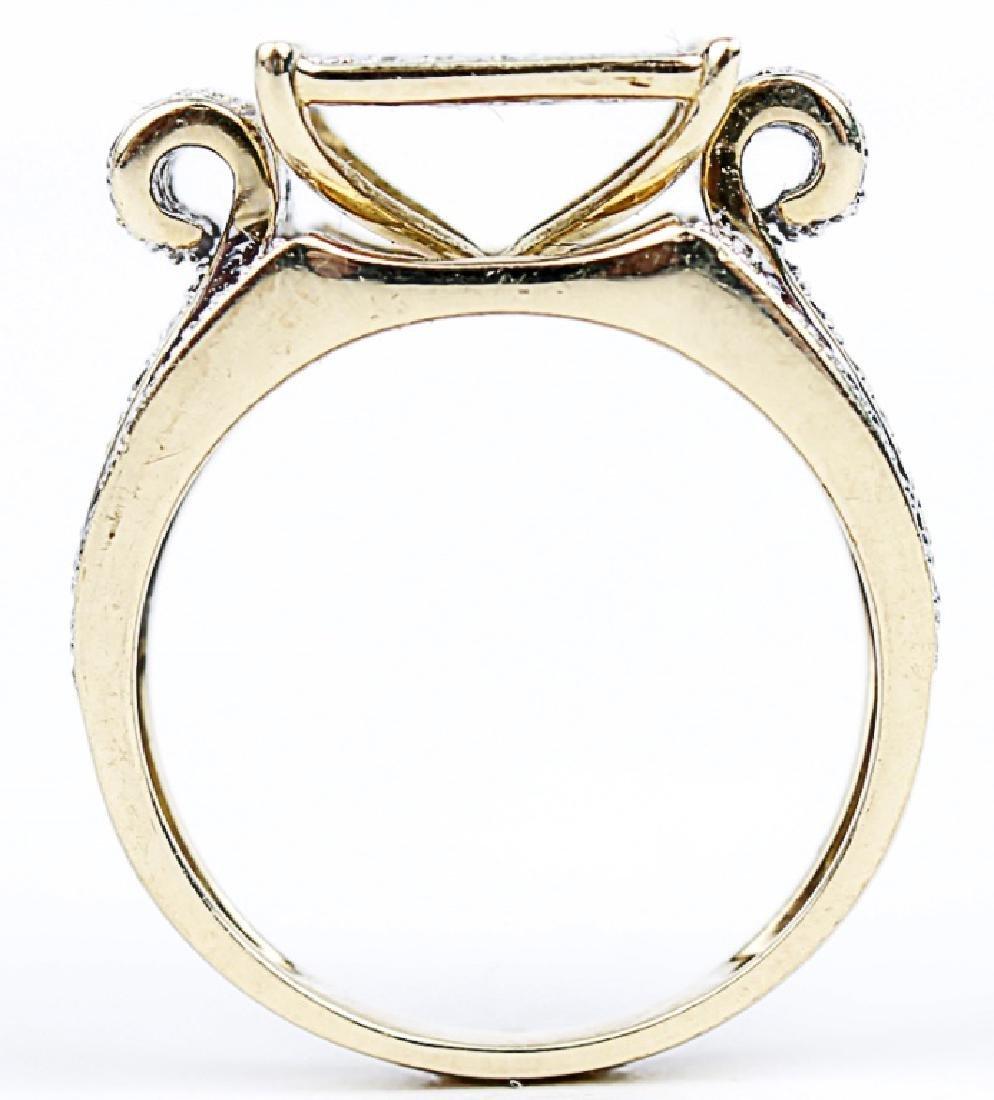 10K YELLOW GOLD DIAMOND LADIES DESIGNER RING - 2