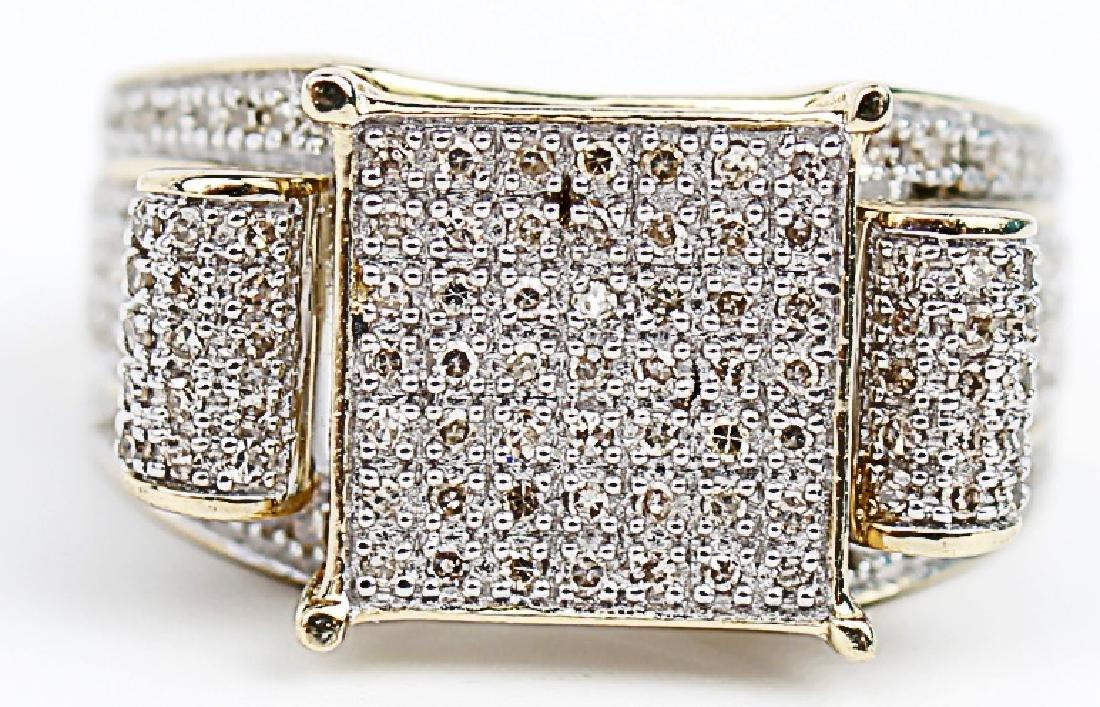 10K YELLOW GOLD DIAMOND LADIES DESIGNER RING - 3