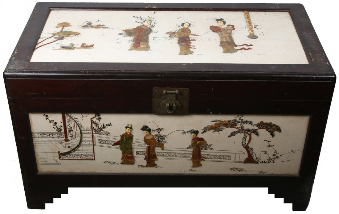CHINESE WOOD CHEST WITH SOFT STONE AND BONE INLAY