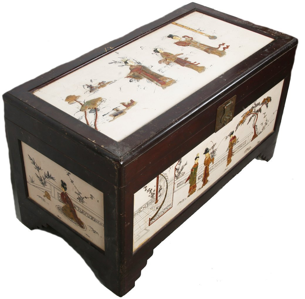 CHINESE WOOD CHEST WITH SOFT STONE AND BONE INLAY - 2