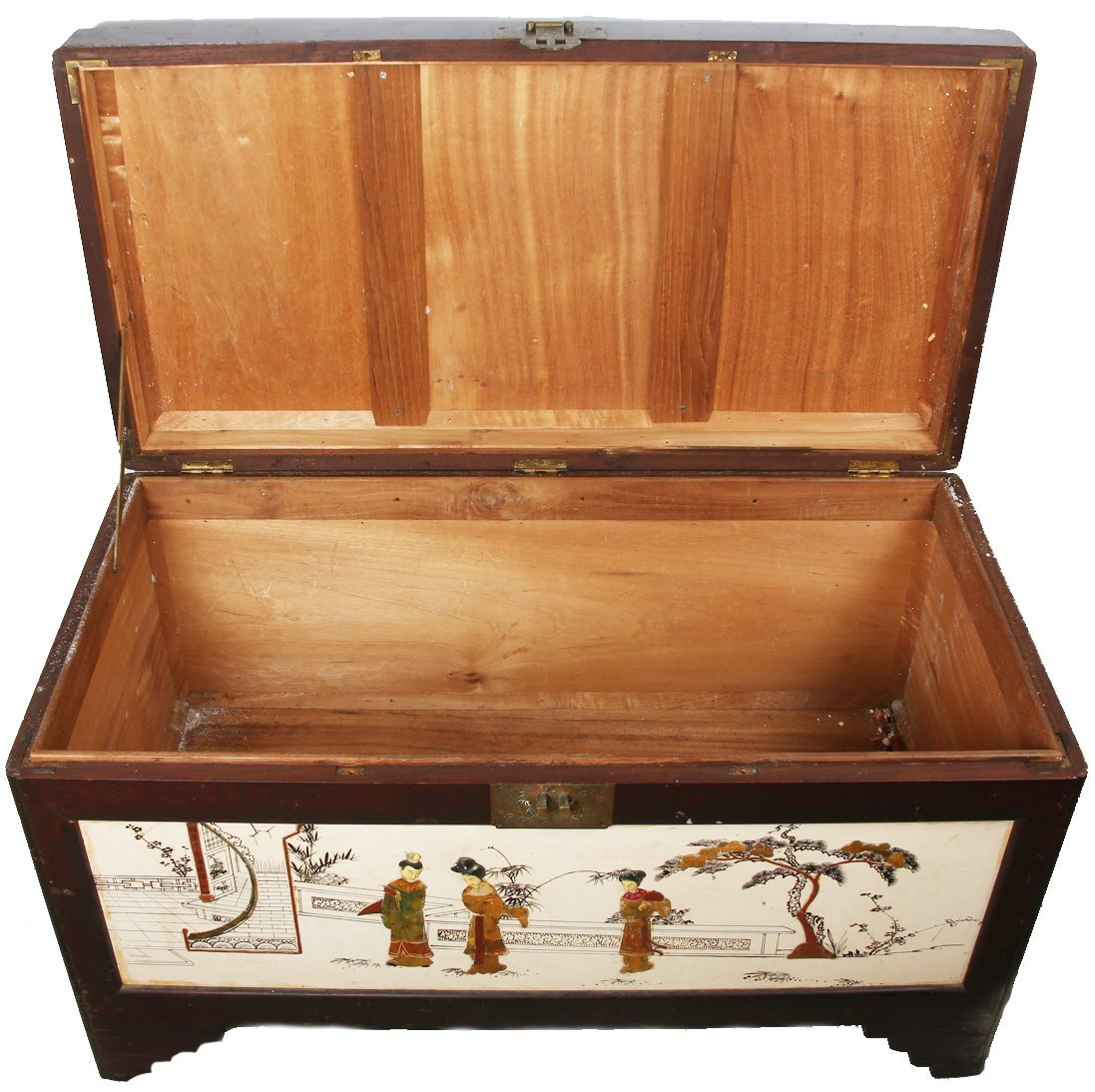 CHINESE WOOD CHEST WITH SOFT STONE AND BONE INLAY - 4