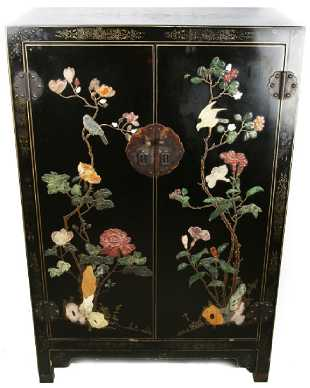 Chinese Decorated Softstone Accent Cabinet