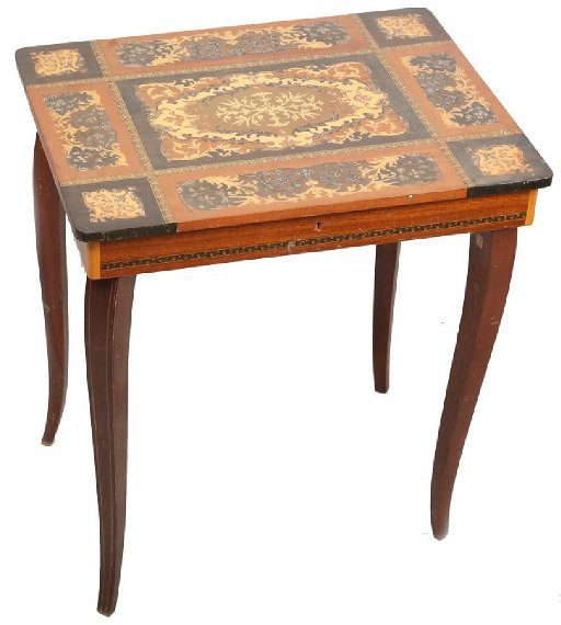 SWISS REUGE MUSIC BOX SIDE TABLE