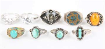 LADIES STERLING SILVER FASHION RINGS  LOT OF 9